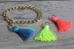 MY DIY | Neon Tassel Bracelets | I SPY DIY. Seems super easy, and I love the idea of adding a few to a tote