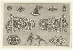 Josef Friedrich Leopold   Tien ontwerpen voor juwelen en drie figuren van bladranken, Josef Friedrich Leopold, David Baumann, 1695   Blad 11 uit serie van 17 bladen.