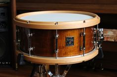 Beautiful snare drum w/ wood hoops by mastercraftsman Dale Flanigan at Fortune Drums.