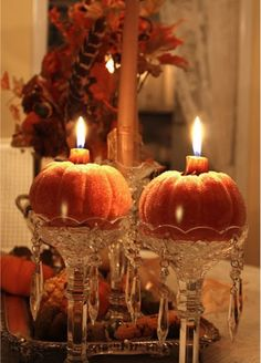 Elevated Pumpkin Candle Holders - pretty pink tulips: Day of Discovery