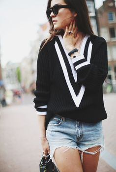 SWEATER & SHORTS #style #fashion #women