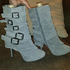 Grey heel boots ×DISCOUNTED× 4in heel. Worn once. Zipper and straps for a great fit. Charlotte Russe Shoes