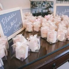 Even more cute ideas! Macarons are such pretty desserts that all you need to do is put them in a clear box, attach a cute tag or ribbon, and they're good to go! Photo by Petruzzo Photography via Style Me Pretty Wedding Favors For Men, Wedding Party Favors, Our Wedding, Wedding Gifts, Dream Wedding, Wedding Decorations, Wedding Ideas, Wedding Favor Table, Wedding Card