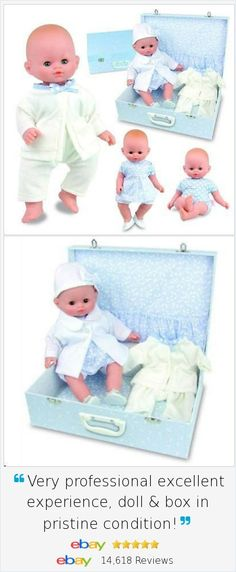 """Looking for a charming, huggable, SAFELY made First Baby Doll for your special little one? Our Petitcollin Mon Bebe Chic  is a14"""" First Cuddly Baby Doll with an entire Playset and Suitcase, safely made in Europe."""