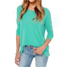New Fashion Women Casual T-shirt Back Zipper Crew Neck Long Sleeve Pullover Blouse Tops