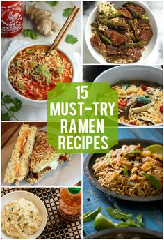 15 Must-Try Ramen Recipes As a college student, you can assume that I'm on a pretty tight budget. With a tight budget comes a pretty limited selection of food, so of course ramen is a pretty common food item that we have. There's nothing wrong with ramen, Top Ramen Recipes, Ramen Noodle Recipes, Whole 30 Recipes, Asian Recipes, Healthy Recipes, Ethnic Recipes, Best Ramen Noodles, Noodle Soups, Savoury Recipes