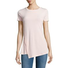 Ivanka Trump Asymmetrical Zip-Accented Tee ($37) ❤ liked on Polyvore featuring tops, t-shirts, blush pink, zip tee, pink tee, crew-neck tee, short sleeve crew neck t shirt and ivanka trump