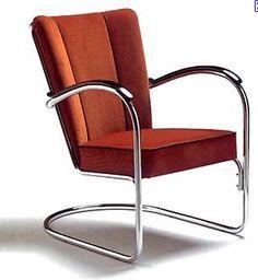 Wilhelm H. Gispen Gispen 412 Armchair - Sprung-steel armchair without back legs. Streamline Moderne, Spring Steel, Love Design, Sitting Area, Bauhaus, Recliner, Mid-century Modern, Furniture Design, Art Deco