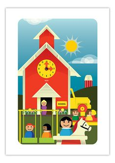 Vintage Fisher Price Schoolhouse Artprint by Neal McCullough, via Flickr
