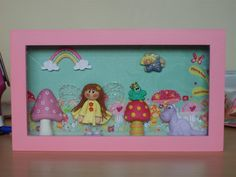 Shadow box with polymer clay figures and K & Co 'Berry Sweet' paper