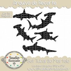 Hammer Shark Set, Set Tubarão Martelo, Mar, Sea, Oceano, Ocean, Praia, Beach, Fundo do Mar, Deep Sea, Seafloor, Corte Regular, Regular Cut, Silhouette, Arquivo de Recorte, DXF, SVG, PNG