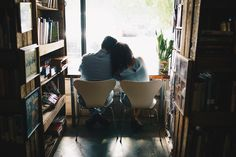 Los Vargas Photo <3 - Coffeshop Romance - Cafe / Coffee Shop Engagement Pictures Session - Cute Mixed Latino Couple - Rainy Day Couple - Smiles and Coffee Love - Indoors Engagement Shoot - Stardust Coffee in Orlando, FL - Central Florida Orlando Engagement Photography Photographers - Hipster Engagement Outfits - Pantone Indoors Modern - Colorful Bohemian Hipster Indie Engagement - Intimate Silhouette of Couple in bookstore - Moody Engagement