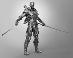 Futuristic Soldier Suit by Shaun Sherman Futuristic Samurai, Futuristic Armour, Ninja Armor, Sci Fi Armor, Robot Concept Art, Armor Concept, Saga Art, Spaceship Art, Sci Fi Characters