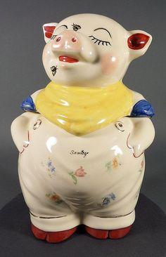 rare cookie jars | Rare Vintage Shawnee Smiley Pig with Flies Cookie Jar