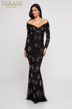 7a036a2daed Demand the crowds attention upon arrival in the unforgettable Fully Beaded  Long Sleeve Off the Shoulder Evening Gown by Terani Couture.