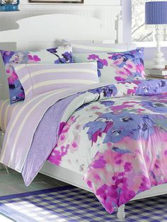 Lilac & Cream Stripe Sheet set for Chelsea...found on clearance today and matches her quilt perfectly!