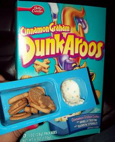 Dunkaroos - Cookies dipped in frosting. A healthy treat from my childhood.  :)