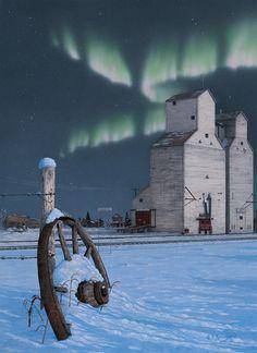 "Northern lights on the prairie, by the grain elevators. "" DAYS GONE BY "" Glen Scrimshaw. rouse schwedhelm Keller via Patsy Aubuchon Cool Landscapes, Beautiful Landscapes, Landscape Paintings, Nocturne, Canadian Prairies, Saskatchewan Canada, Landscape Pictures, Winter Scenes, Canada Travel"