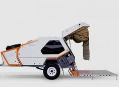 This is the TVAN Camper Trailer! It's an off-road ready micro camper with an expanding tent and kitchen that you can tow with just about any vehicle. Trailer Tent, Off Road Camper Trailer, Trailer Build, Camper Trailers, Travel Trailers, Camping 3, Luxury Camping, Camping Cabins, Camping Stuff
