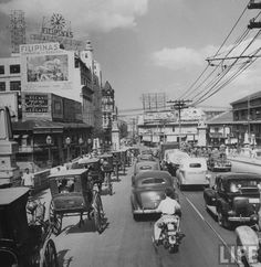 A view of traffic in Manila one week before the war with Japan. Location: Manila, Philippines Date taken: 1942 Photographer: Carl Mydans Philippines Culture, Manila Philippines, Philippine Holidays, Exotic Beaches, Tropical Beaches, Historical Pictures, Southeast Asia, Old Photos, The Good Place