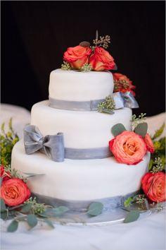 gray and white cake with rose decorations #classiccake #whiteweddingcake #weddingchicks http://www.weddingchicks.com/2013/12/18/colorado-wedding/