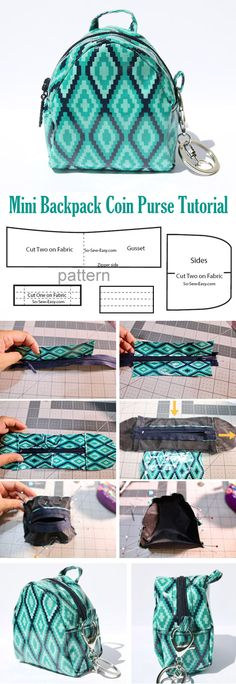 Mini Backpack Coin Purse Pattern & Tutorial  http://www.free-tutorial.net/2017/09/mini-backpack-coin-purse-tutorial.html