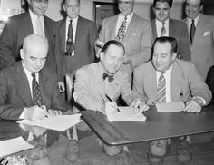 June 20,   1941: FORD SIGNS FIRST CONTRACT WITH AUTOWORKERS' UNION  -   After a long and bitter struggle on the part of Henry Ford against cooperation with organized labor unions, Ford Motor Company signs its first contract with the United Automobile Workers of America and Congress of Industrial Organizations.