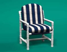 Our PVC pipe patio furniture is made from furniture-grade PVC. It has a high-gloss finish and won't crack, peel or fade in ANY environment. Pvc Patio Furniture, Furniture Grade Pvc, Chaise Cushions, Patio Cushions, Pvc Chair, Outdoor Deck Decorating, Classic Cushions, Pvc Pipe Projects, Chair Pictures