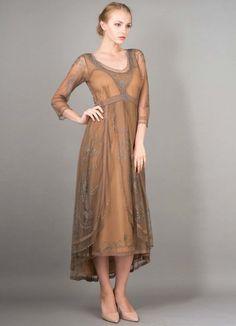Nataya Downton Abbey Tulle Embroidery Wedding Dress, 40163 Antique Silver (XL) #Nataya #TeaDress #Formal