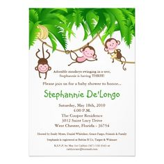 5x7 TRIPLETS Monkey Jungle Baby Shower Invitation Card