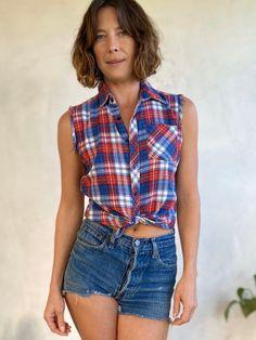 70s T Shirts, Vintage Shirts, Button Up Shirts, Vintage Outfits, Vintage Fashion, Plaid Shirts, Blue Plaid, Red White Blue, Stripped Shirt