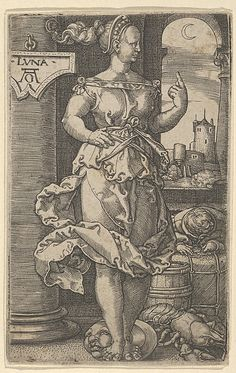 A sixteenth-century engraving by Heinrich Aldegrever depicting Luna, the goddess/personification of the moon; her attributes include a lunar crescent, the 'man in the moon' on which she is standing and a crayfish, symbol of the zodiacal sign of Cancer. (Metropolitan Museum of Art)