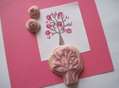 spring tree rubber stamp