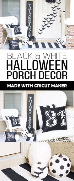 Make these black and white DIY Halloween porch decorations, including glitter bats and iron on pillow cases, with your Cricut Maker! Halloween Decorations For Kids, Halloween Activities For Kids, Halloween Home Decor, Halloween House, Halloween Pillows, Halloween 2020, Holiday Decorations, Halloween Crafts To Sell, Fun Halloween Treats