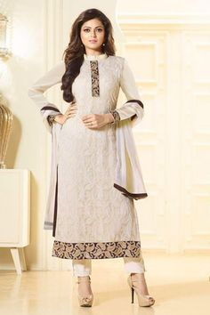 Shop drashti dhami in cream georgette straight cut suit , freeshipping all over the world , Item code Latest Salwar Suits, Latest Salwar Kameez, Pakistani Salwar Kameez, Anarkali Suits, Drashti Dhami, Punjabi Fashion, Buy Sarees Online, White Chiffon, Yes To The Dress