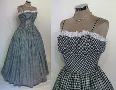 "Showstopper 1950s gingham ball gown w/gathered shelf bust, hooped full skirt bust 32"" by ukcharmvintage on Etsy https://www.etsy.com/listing/247282692/showstopper-1950s-gingham-ball-gown"
