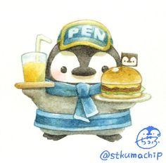Kawaii Doodles, Cute Kawaii Drawings, Cute Animal Drawings, Animal Sketches, Pretty Art, Cute Art, Penguin Art, Cute Kawaii Animals, Kawaii Illustration