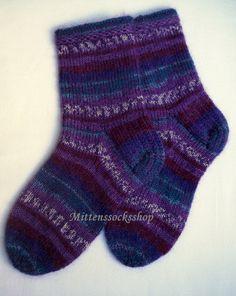 #Woolsocks #Handknitted wery warm #socks from sock yarn with kid mohair Striped colorful socks Unisex socks Purple white blue Sleeping socks