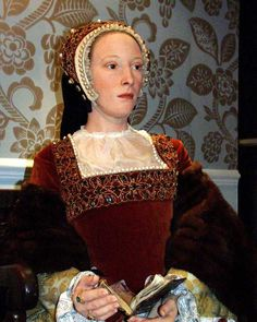 Katheryn Howard wax figure. 5th wife of Henry VIII. Motto: 'No other will than his'