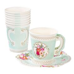You will love our Tea Party Cups with Handle!  They are perfect for a Tea Party, a Baby Shower, a Bridal Shower or a Garden Party!  They have an exquisite floral design and are disposable for easy cleaning.