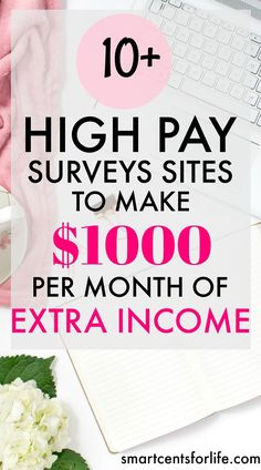 Over 10 high pay survey sites for  to to make $1000 per month of extra income. Ideal for moms, college students or anyone who wants to earn a side income! extra income | earn money | stay at home jobs | stay at home mom jobs |survey for money | make money fast | extra cash | make money at home | make money online | earn extra money | side hustle ideas