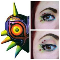 A toned-down version would be wearable and awesome! Mask Makeup, Makeup Art, Eye Makeup, Zelda Birthday, Legend Of Zelda, Game Design, Makeup Inspiration, Mud, Health And Beauty