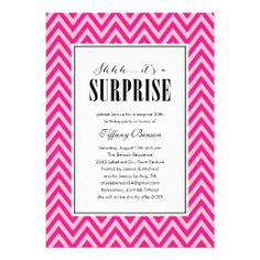 Pink Surprise Party Invitations for Women