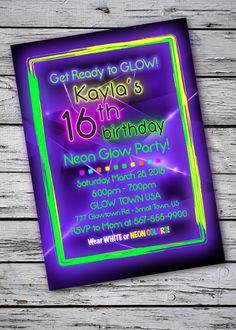 Blacklight Glow-in-the-Dark Theme Birthday Party Invitation – DIGITAL FILE · DanceParty_TICKET_2x6