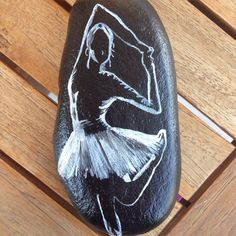black and white/shadow/ballet (painted/stones/pebbles/rocks)(acrylics)