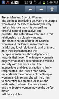 Scorpio woman Pisces man ~I'm assuming this goes for the Pisces woman and Scorpio man as well. ;)