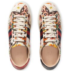 Gucci Garden Exclusive Ace Sneaker ($595) ❤ liked on Polyvore featuring shoes, sneakers, gucci, tenis, print sneakers, gucci sneakers, gucci footwear, snake sneakers and floral sneakers