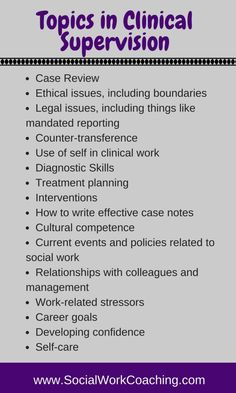 Clinical supervision topics for social workers and therapists include ethical & legal issues, interventions, self-care, work-related stressors.