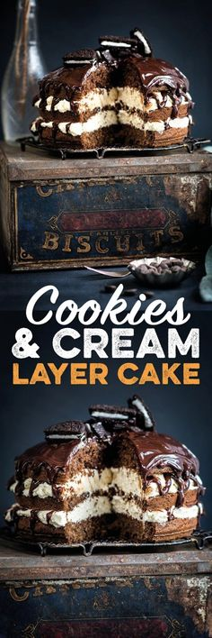 Cookies and Cream Layer Cake – Supergolden Bakes Cookies and cream layer cake! Filled with white chocolate whipped cream, topped with rich chocolate glaze and Oreo cookies. Delicious and so easy Best Dessert Recipes, Cupcake Recipes, Easy Desserts, Baking Recipes, Sweet Recipes, Delicious Desserts, Cupcake Cakes, Cupcakes, Baking Tips