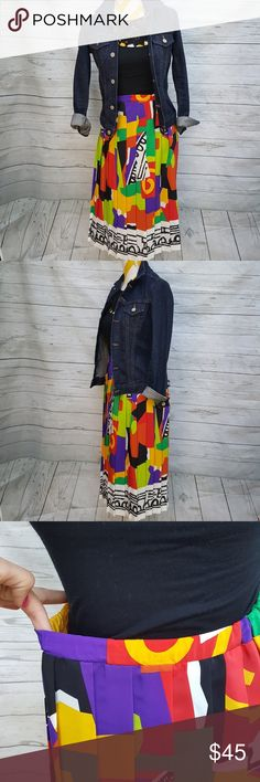 Vintage 80s colorful pleated skirt Can fit size S/M - strechable waist band Doesn't wrinkle In great vintage condition Skirts Midi